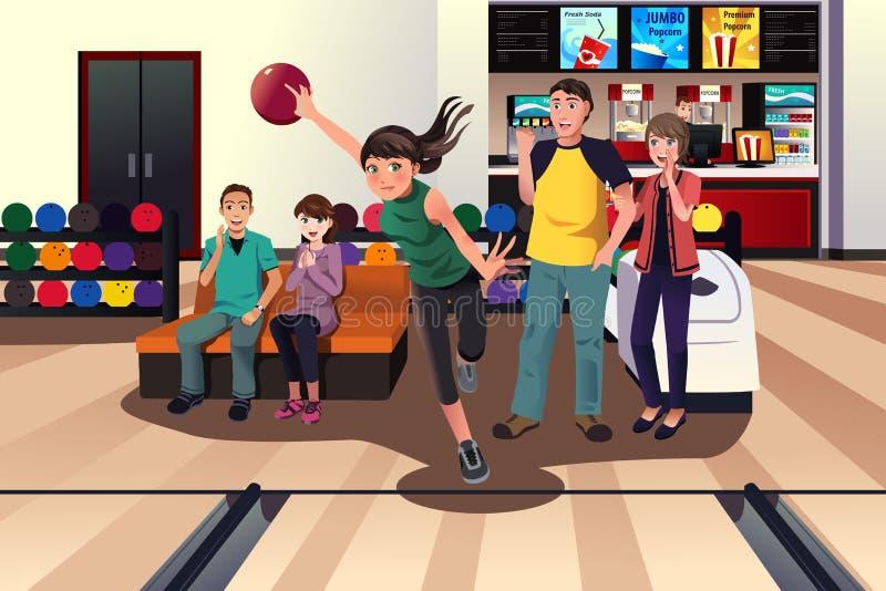 Giovani al bowling illustrazione vettoriale