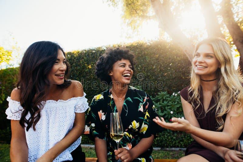 Giovani amici femminili felici al partito di aria aperta immagine stock