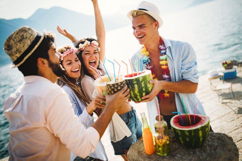 Giovani amici spensierati che godono insieme del partito di estate fotografia stock