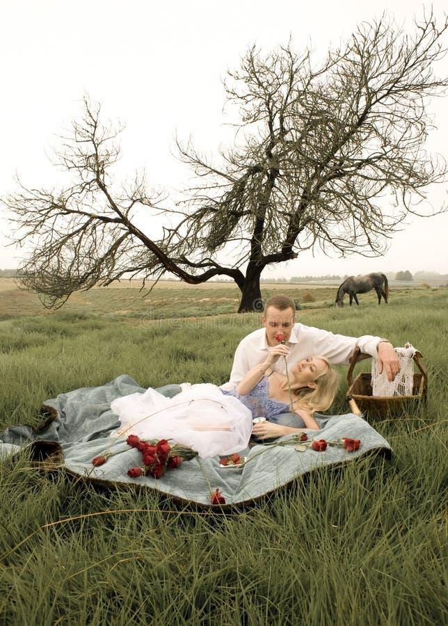 Giovani belle coppie che godono di un picnic nel campo immagini stock libere da diritti