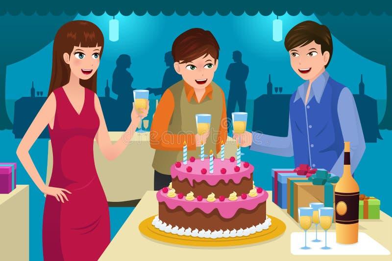 Giovani che celebrano una festa di compleanno illustrazione vettoriale
