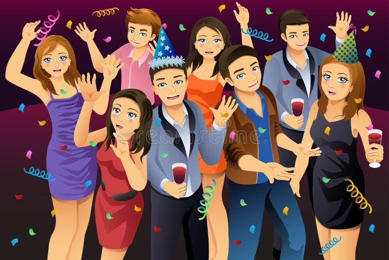 Giovani che hanno illustrazione del partito del nuovo anno illustrazione vettoriale