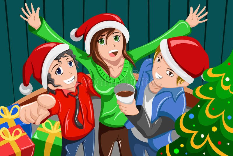 Giovani che hanno una festa di Natale illustrazione di stock