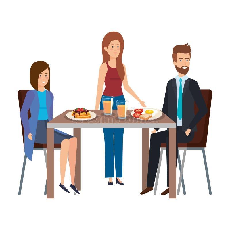 Giovani che mangiano nei caratteri della tavola royalty illustrazione gratis