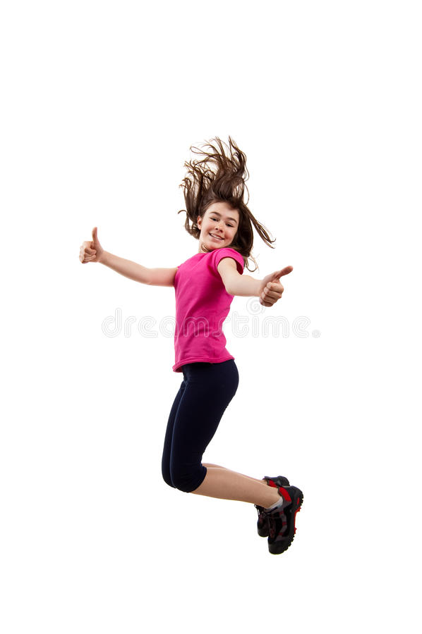 Giovani che saltano mostrando segno GIUSTO fotografia stock libera da diritti