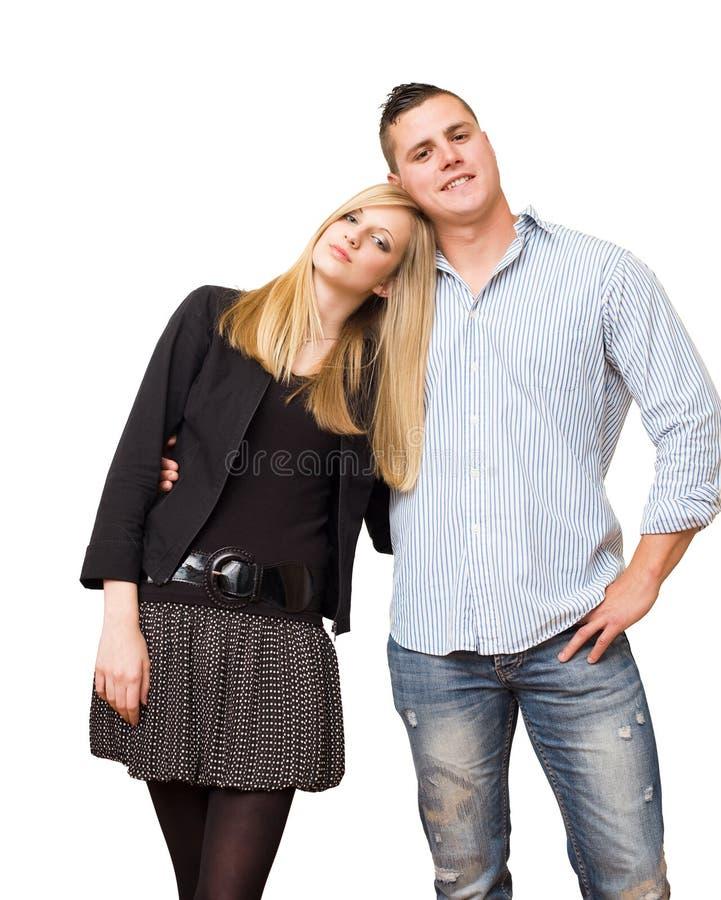 Giovani coppie alla moda dell'allievo. immagini stock