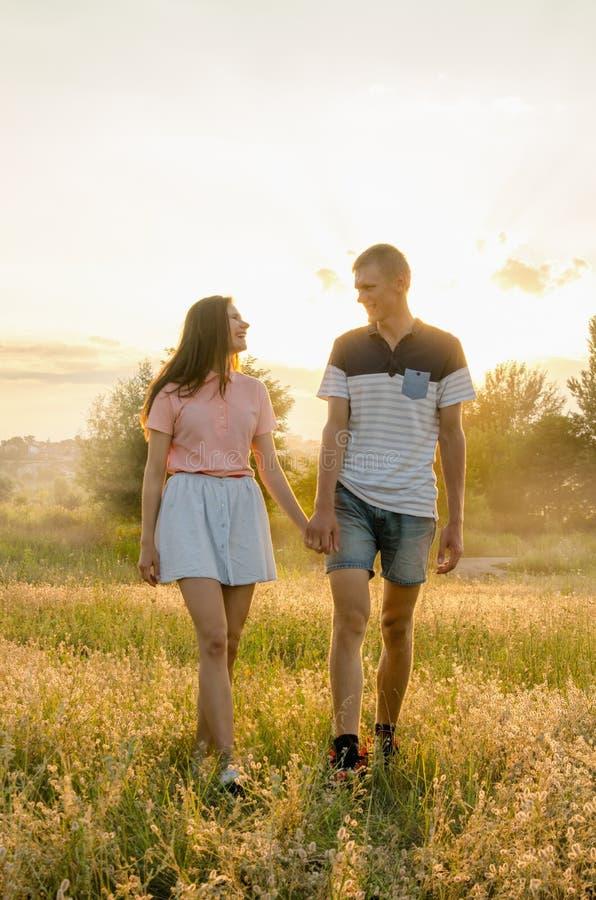 Giovani coppie amorose che camminano nel campo fotografia stock