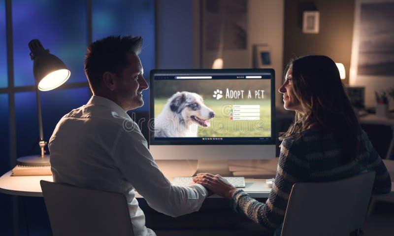 Giovani coppie che adottano un animale domestico online fotografia stock