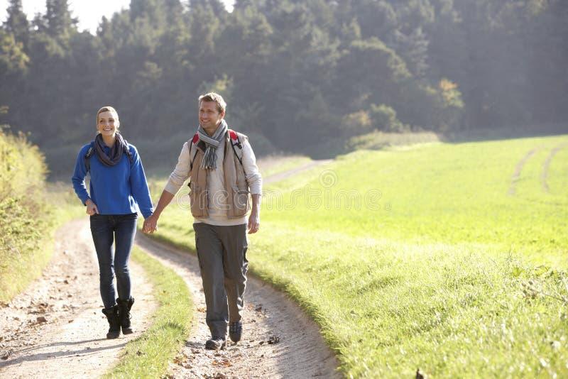 Giovani coppie che camminano nella sosta immagini stock