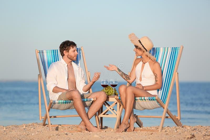 Giovani coppie che hanno picnic con vino e l'uva fotografie stock libere da diritti