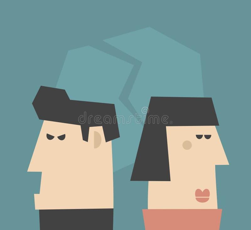 Giovani coppie che hanno problemi di relazione. illustrazione di stock