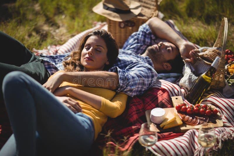 Giovani coppie che si rilassano sulla coperta di picnic all'azienda agricola verde oliva immagine stock