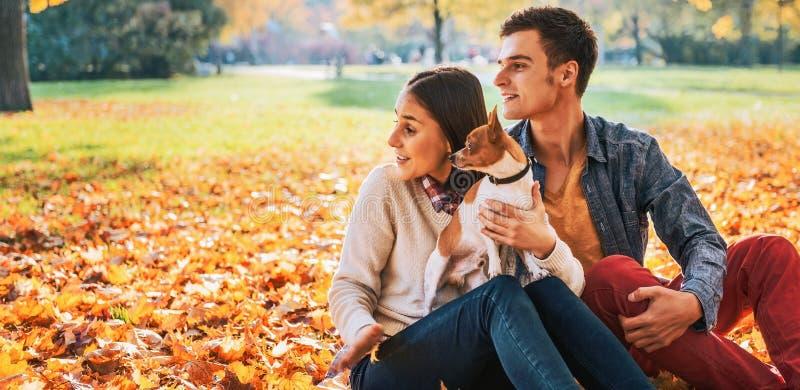 Giovani coppie che si siedono all'aperto nel parco di autunno con il cane immagine stock libera da diritti