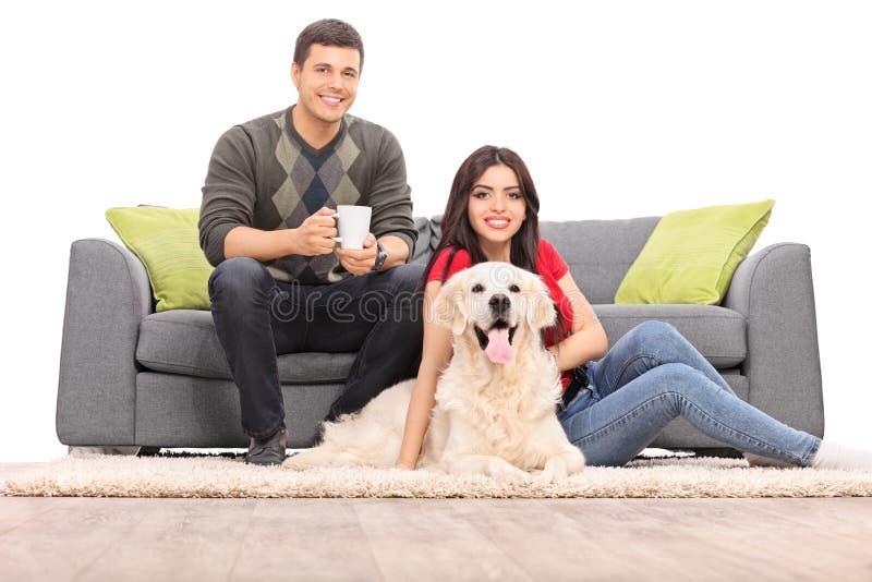 Giovani coppie che si siedono con un cane su un sofà moderno fotografia stock libera da diritti