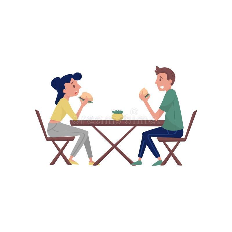 Giovani coppie che si siedono dietro la tavola di legno e che mangiano gli hamburger saporiti Tempo del pranzo Tema degli aliment illustrazione vettoriale