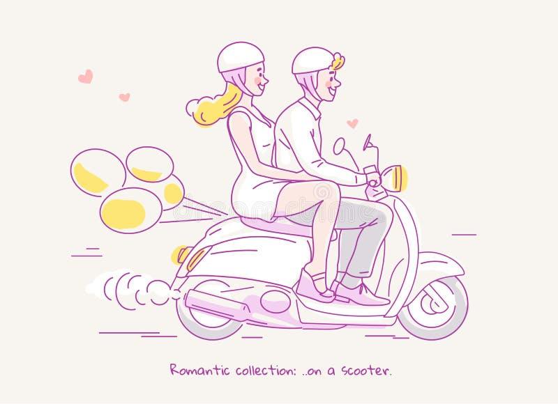 Giovani coppie che viaggiano sul motorino con i palloni dietro Illustrazione al tratto fotografia stock libera da diritti