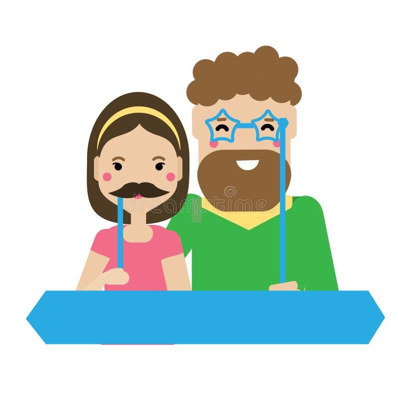 Giovani coppie con i baffi degli accessori della cabina della foto e gli occhiali divertenti illustrazione di stock