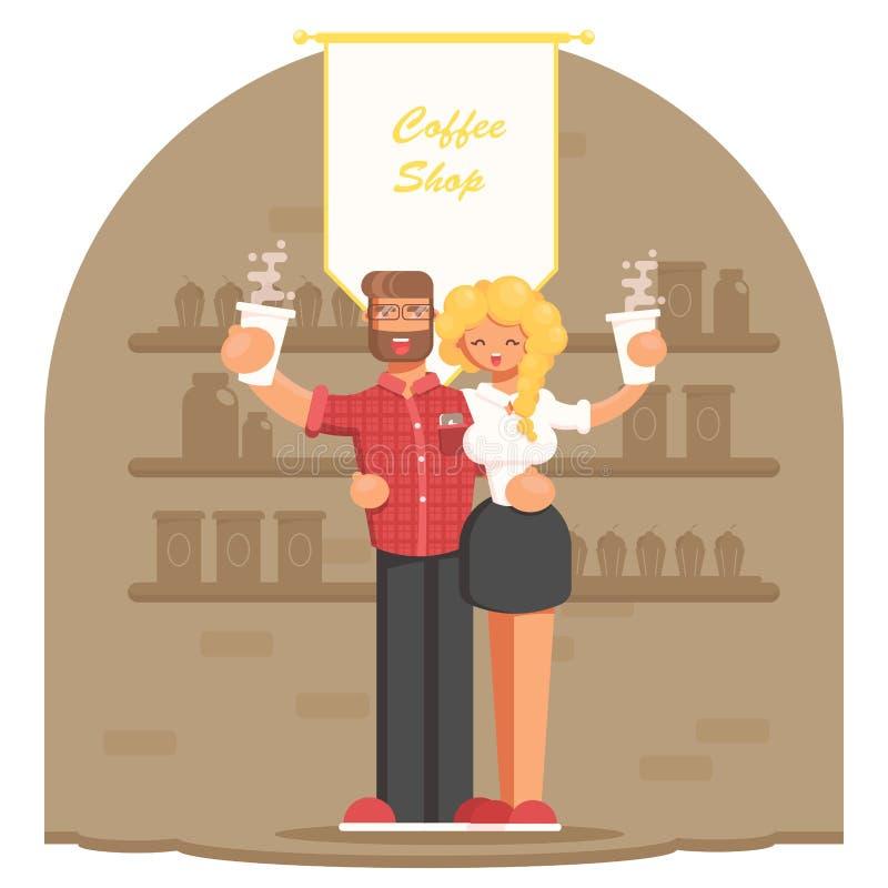 Giovani coppie dei proprietari del caffè con caffè in mani illustrazione di stock