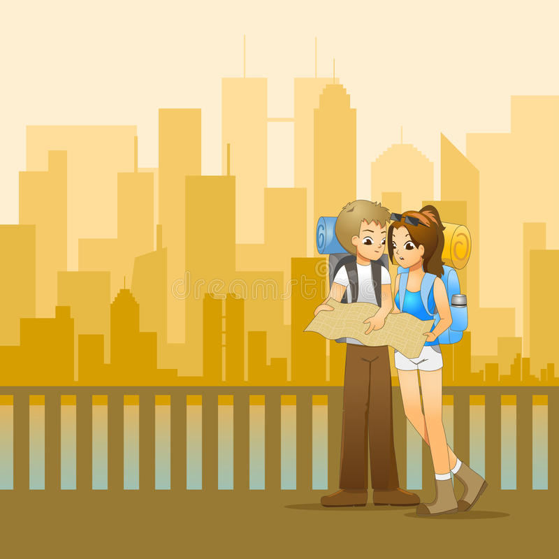 Giovani coppie dei viaggiatori con zaino e sacco a pelo che progettano l'itinerario illustrazione di stock