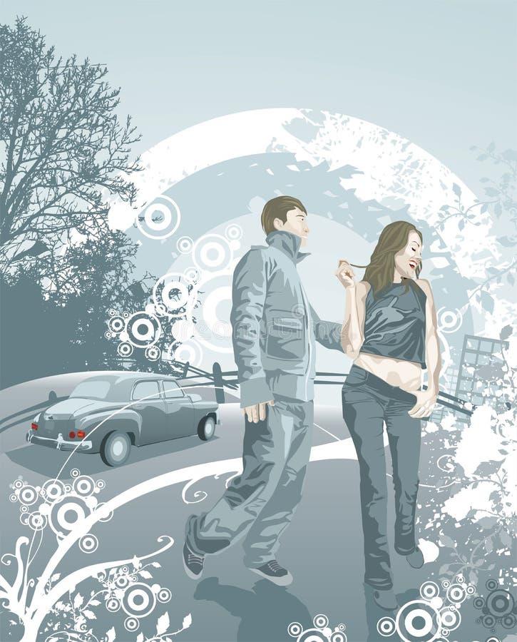 Giovani coppie felici nell'amore illustrazione di stock