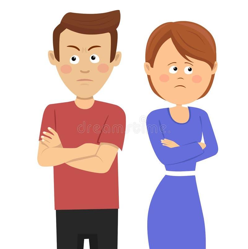 Giovani coppie infelici che hanno problemi coniugali o disaccordo che sta con le armi attraversate royalty illustrazione gratis