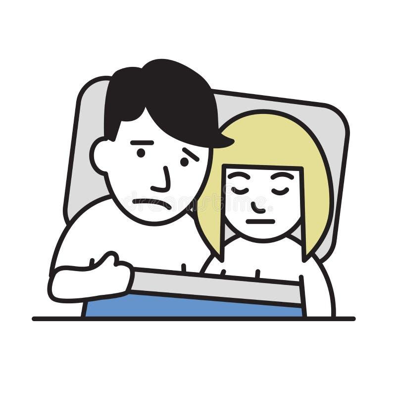 Giovani coppie infelici a letto, problemi, crisi della famiglia Icona di progettazione del fumetto Illustrazione piana di vettore illustrazione di stock
