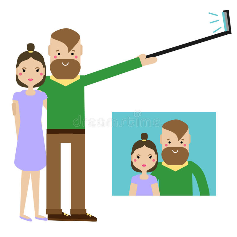 Giovani coppie moderne che prendono la foto del selfie L'uomo dei pantaloni a vita bassa e la famiglia della donna divertendosi e illustrazione vettoriale