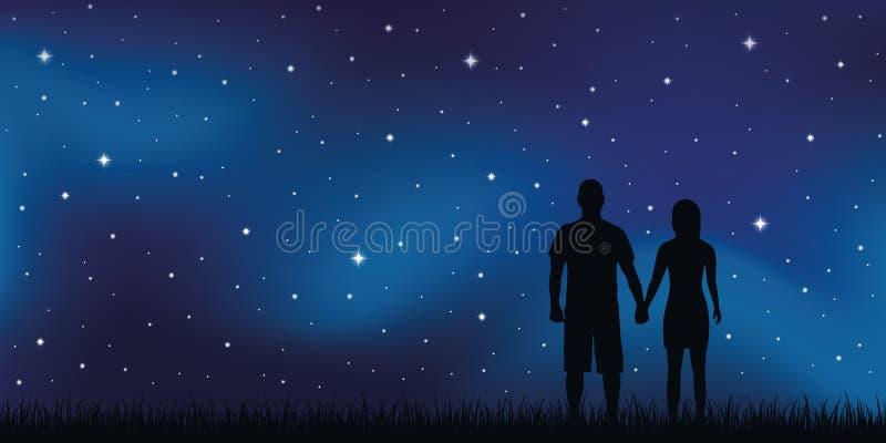 Giovani coppie negli sguardi di amore nel cielo stellato royalty illustrazione gratis
