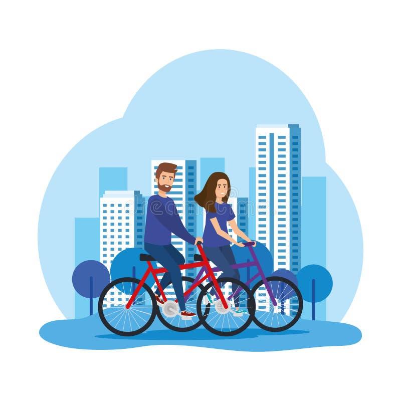 Giovani coppie nei caratteri degli avatar delle biciclette illustrazione vettoriale