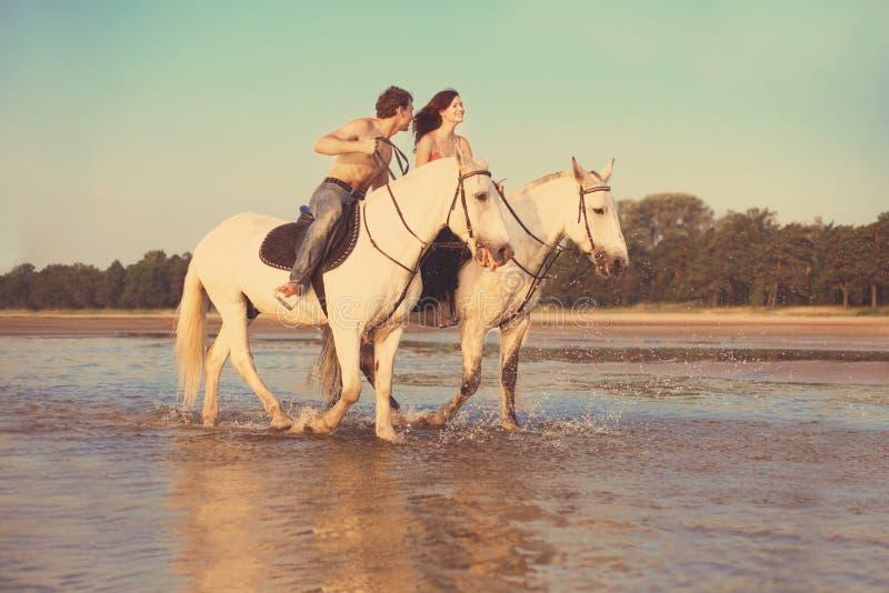 Giovani coppie nel mare su a cavallo fotografia stock