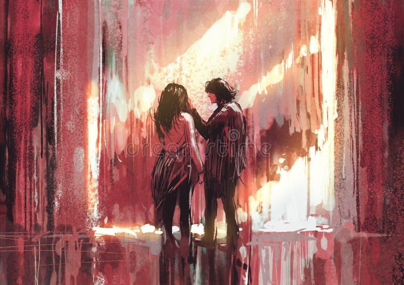 Giovani coppie nell'amore all'aperto, illustrazione illustrazione di stock