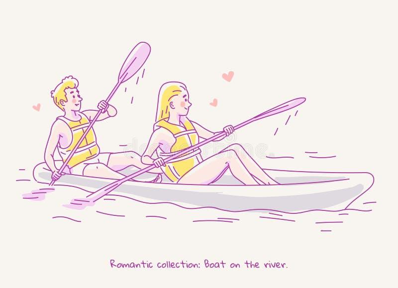 Giovani coppie nell'amore che viaggia in una barca sul fiume Illustrazione al tratto immagini stock
