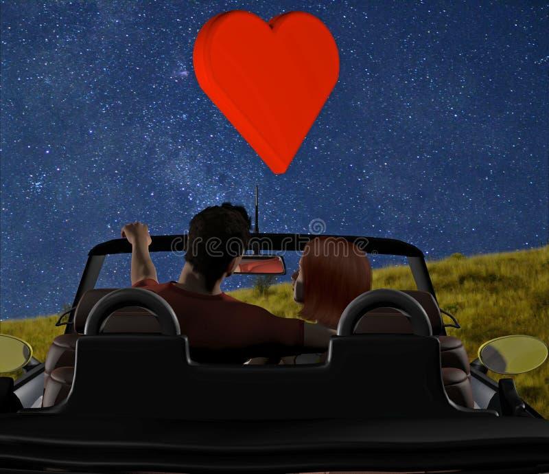 Giovani coppie parcheggiate in convertibile royalty illustrazione gratis