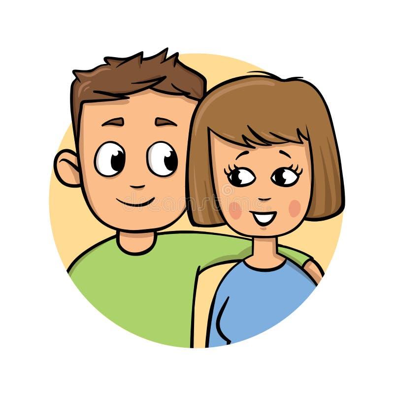 Giovani coppie Ragazzo che riposa la sua mano sulla spalla del ` s della ragazza Icona piana di progettazione Illustrazione piana royalty illustrazione gratis