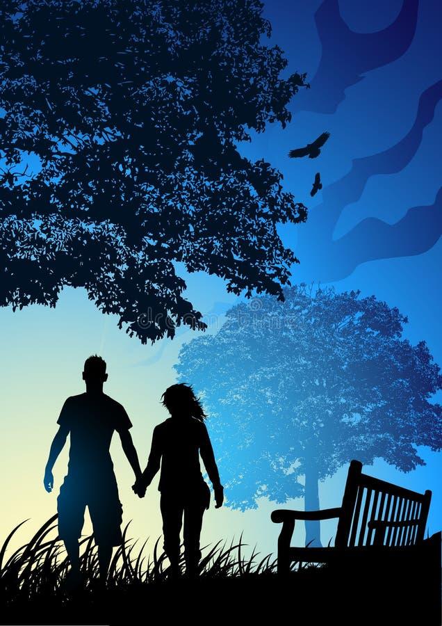 Giovani coppie in sosta illustrazione di stock
