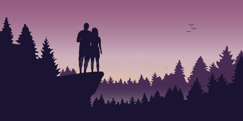 Giovani coppie su una scogliera nel paesaggio romantico della foresta royalty illustrazione gratis