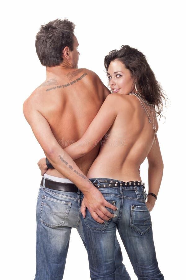 Giovani coppie topless fotografia stock