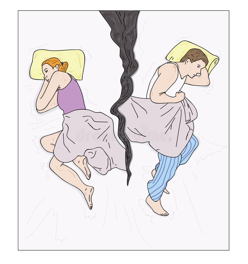 Giovani coppie turbate che hanno i problemi coniugali o un disaccordo royalty illustrazione gratis