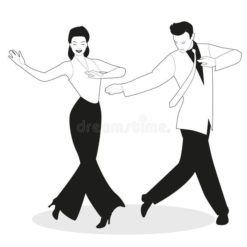 Giovani coppie vestite in retro vestiti, rubinetto ballante, oscillazione o stile di Broadway, isolato su fondo bianco illustrazione vettoriale