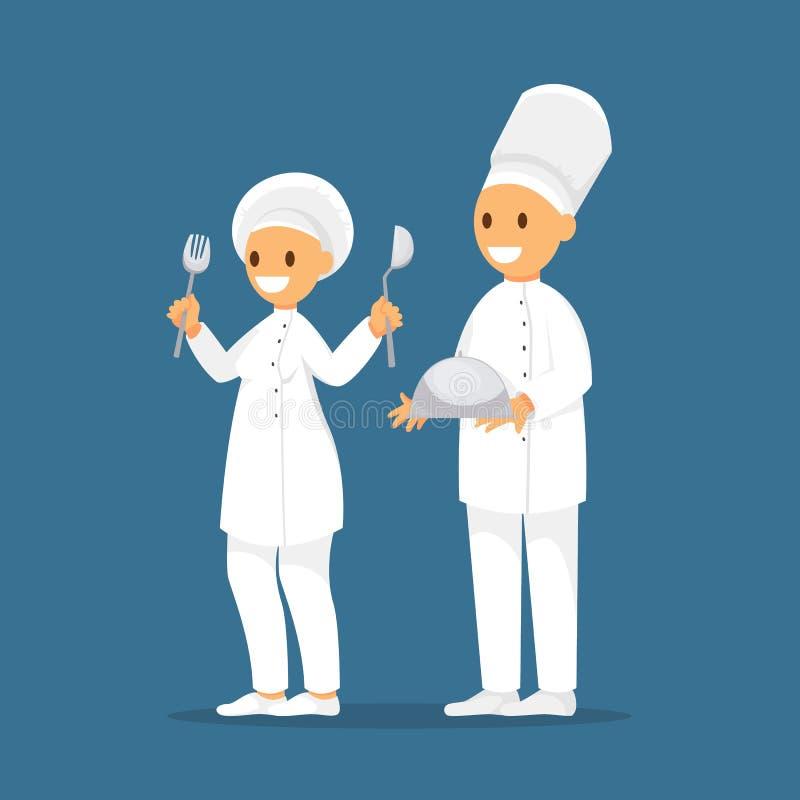 Giovani cuochi unici professionisti Caratteri del cuoco unico immagine stock