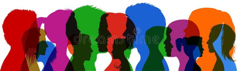 Giovani del gruppo La siluetta di profilo affronta il †dei ragazzi e delle ragazze « royalty illustrazione gratis