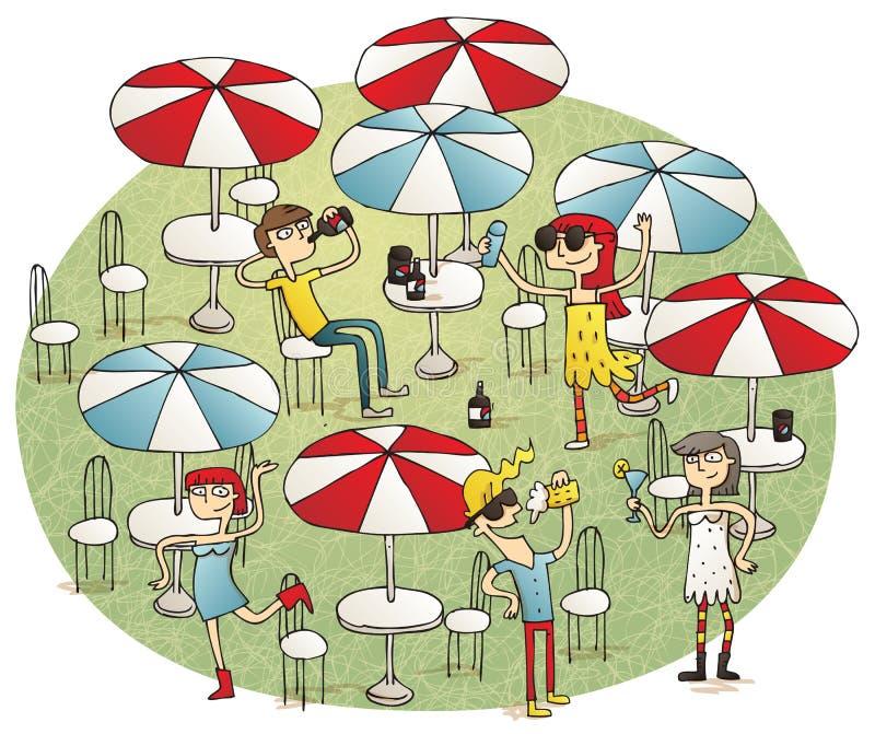 Giovani divertendosi nella barra della spiaggia illustrazione di stock