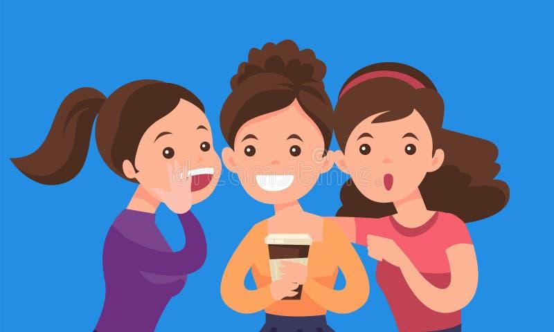 Giovani donne bianche caucasiche che dividono i pettegolezzi illustrazione di stock