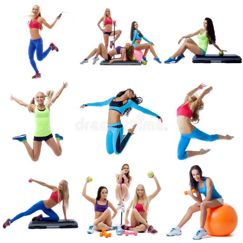 Giovani donne che fanno il collage di forma fisica fotografia stock