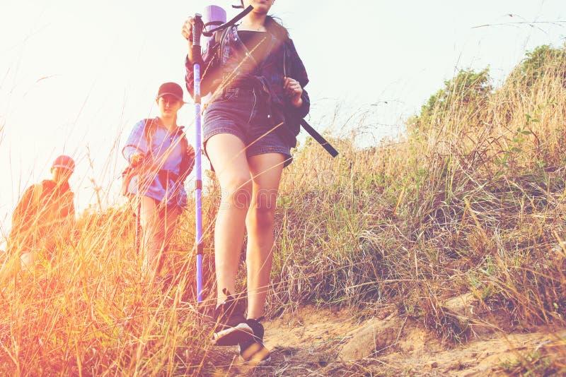 Giovani donne del gruppo delle viandanti che camminano con lo zaino fotografia stock