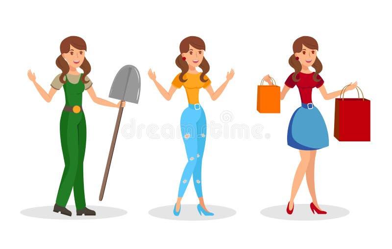 Giovani donne, insieme piano dei caratteri di vettore delle ragazze illustrazione vettoriale