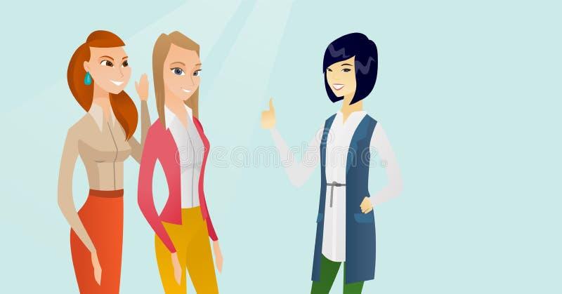 Giovani donne multiculturali che dividono i pettegolezzi illustrazione di stock