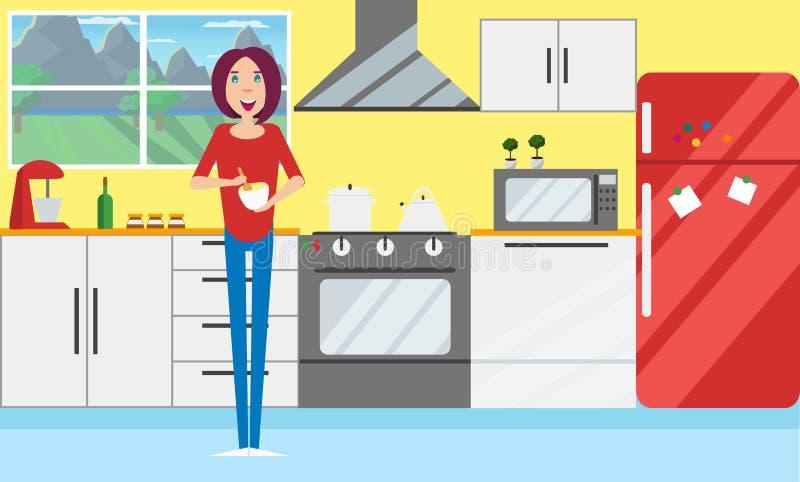 Giovani donne nella cucina Vettore, progettazione piana illustrazione vettoriale