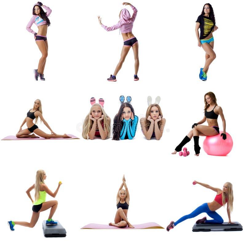 Giovani donne sexy che fanno il collage di forma fisica immagine stock libera da diritti