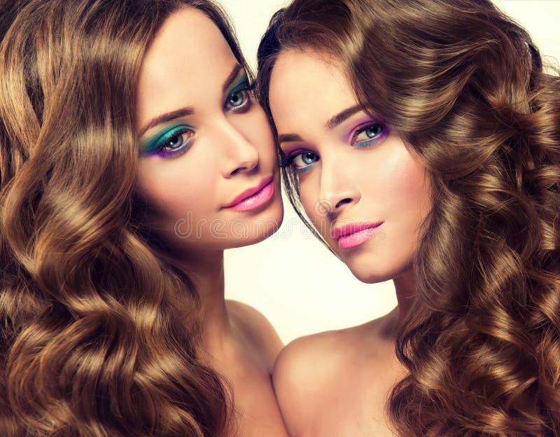 Giovani e gemelli splendidi Doppio portret immagini stock libere da diritti